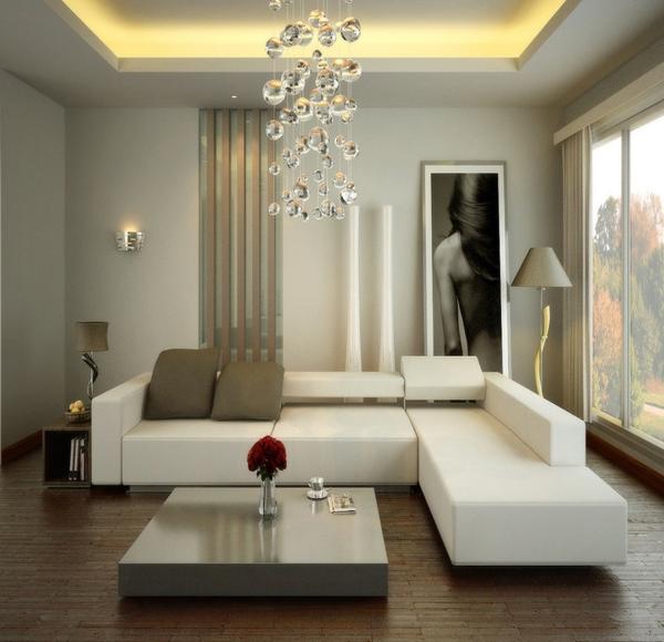 tipe ruang tamu minimalis dengan sofa warna putih abu abu serta