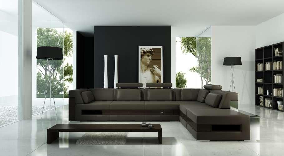 Ruang Tamu Modern Masakini Dengan Sofa Coklat Serta Meja